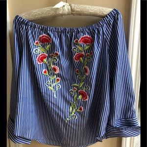 Forever 21 Off-the-Shoulder Embroidered Top